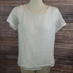 J. CREW Lace Short Sleeved Top size 12